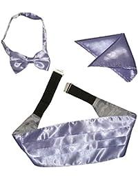 3 PCS Set: Silk Mens Pleated Adjustable Cummerbund, Bow Tie & Handkerchief - Light Purple