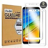 [2 Pezzi] Owbb® Bianco Vetro Temperato Pellicola Per Xiaomi Redmi 5 Plus Full Coverage Protettiva Protezione 9H Durezza 99% Alta Trasparente