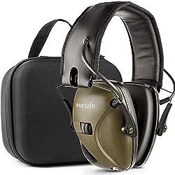 Awesafe Protection auditive électronique pour les sports d'impact [Livré avec sac de transport rigide], Protège-oreilles de sécurité, NRR 22 dB, Idéal pour les tireurs et Hunting (Vert)