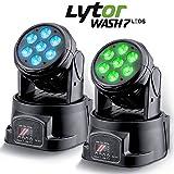 LytOr Scheinwerfer, Wash7, LEDs, DMX RGB 4W + Weiß, 2er Pack-in DMX-512(7oder 12Kanäle)