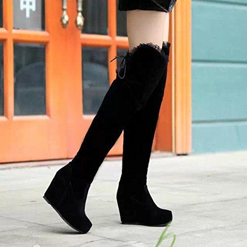 KHSKX-Glassati Stivali Alti La Nuova Testa China Tacchi Impermeabile Stivali Al Ginocchio Caramelle Del Colore black