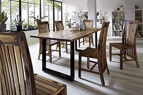 SAM® Stilvoller Esszimmertisch Imker aus Akazie-Holz, Baumkantentisch mit lackierten Beinen aus Roheisen, naturbelassene Optik mit Einer Baumkanten-Tischplatte, 200 x 100 cm