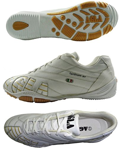 AGLA PROFESSIONAL FANTHOM INDOOR AIR Chaussures de football en cuir avec anti-choc Blanc Cassé - blanc