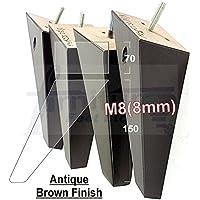 LOT DE 4 PIEDS EN BOIS POUR PIEDS DE MEUBLES - 150 MM-HAUTEUR: POUR SOFAS, FAUTEUILS, TABOURETS M8 (8 MM)