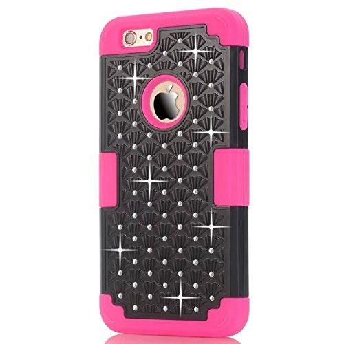 IPhone 6 Case Plus, Lantier 3 en 1 coque en plastique dure avec silicone High Impact antichoc clouté strass cristal Bling Heavy Duty hybride robuste Housse de protection pour IPhone 6 Plus [Rose/Noir] Iphone 6 plus Rose/Black