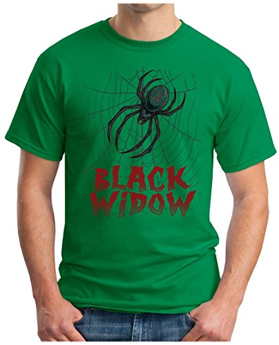 OM3 - BLACK-WIDOW - T-Shirt SchwarzE WITWE SPINNE SPIDER MAFIA MC SKULL DEATH SUPERHELDEN MOVIE SWAG, L, Grün (Grünen T-shirt Spider)