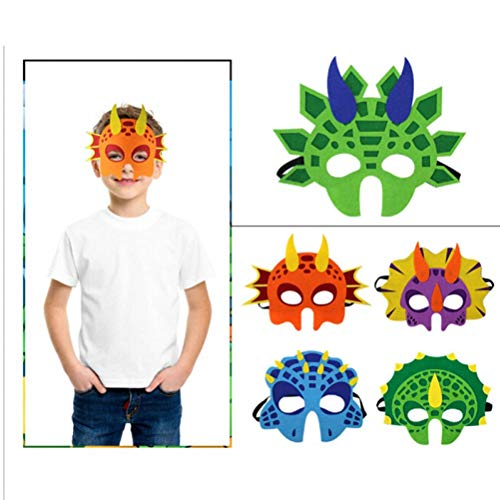 TOSSPER Dinosaurier-Schablonen-Gesichts Jungen und Mädchen Masque Dino Themed Geburtstags-Drache-Party-Halloween-Kostüm Photo Booth Requisiten Maske zufällige Farbe