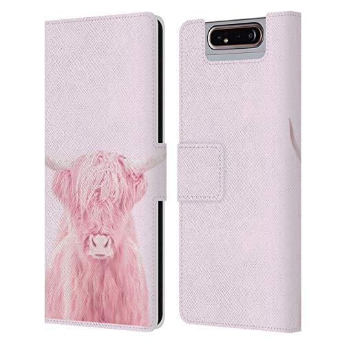 Head Case Designs Offizielle Paul Fuentes Rosafarbenes Hochland Und Kuh Tiere 3 Leder Brieftaschen Huelle kompatibel mit Samsung Galaxy A80 (2019) -