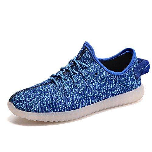 Aidonger Scarpe da corsa 7 colori alla moda carica LED luminoso Unisex da uomo donna Scarpe sportive LED EU35-EU46 blu
