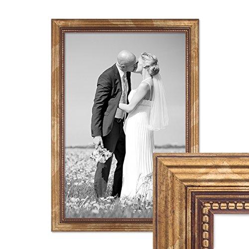 PHOTOLINI Bilderrahmen 30x45 cm Gold Barock Antik Massivholz mit Glasscheibe und Zubehör/Fotorahmen...