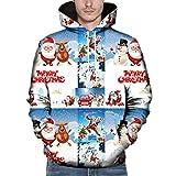 DNOQN Herren Weihnachten Paare Weihnachten 3D Gedruckt Langarm Kapuzenbluse Sweatshirts Weiß L