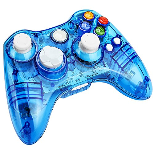 Prous Xbox 360 Controller XW21 Wireless PC Gamepad LED Controller Transparent Joystick für Xbox 360/PC - Blau (Drittanbieter Produkt) - Blau Led Controller 360 Xbox