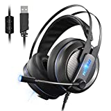 Mpow Gaming Headset, Virtual 7.1-Kanal-Surround-Sound USB-Headset mit 50mm Audiotreiber, LED-Hintergrundbeleuchtung mit einstellbaren Mikrofon und Lautst�rkeregler  Bild