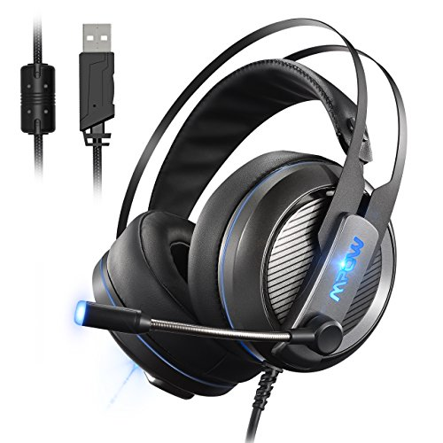 Mpow Gaming Headset, Virtual 7.1-Kanal-Surround-Sound USB-Headset mit 50mm Audiotreiber, LED-Hintergrundbeleuchtung mit einstellbaren Mikrofon und Lautstärkeregler [ PS4, PC, Laptop ]
