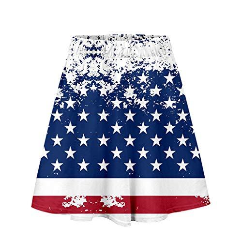 Cooljun Patriotic Sommer-T-Shirts mit amerikanischer Flagge Frauenrock mit Unabhängigkeitstag-Print Lässiger Rock Mode-Faltenrock -