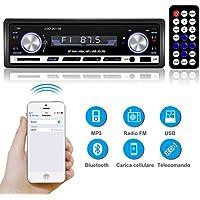 YOHOOLYO Autoradio Bluetooth Auto Stereo Audio Ricevitore FM MP3 USB/SD/AUX/MMC Singolo In-Dash Din con Telecomando Microfono Incorporato Compatibile con Android/IOS