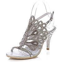 GAIHU Womens Rhinestones sandalias de tacón medio Peacock estampadas zapatos artesanales Bridemaid vestido fiesta nocturna Tamaño Prom 35-43
