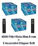 Chance SAS–4500filtres slim Rizla + 2briquets Clipper Soft noirs