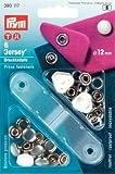 PRYM 390117 Druckknöpfe Jersey 12mm Perlkappe weiß 6 Stück