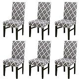 LiveGo, coprisedia elasticizzato per sedie da pranzo, con schienale alto, protezione per sedie per sala da pranzo, matrimoni, banchetti e feste, A-gray, 6 pezzi
