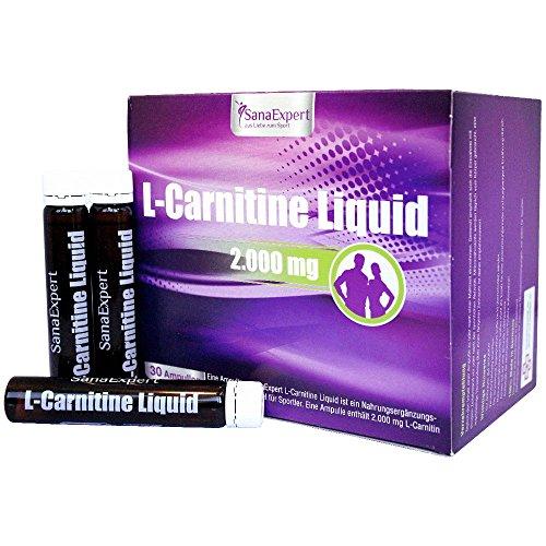 SanaExpert L-Carnitine Liquid, 2000 mg L-Carnitine (Carnipure™) + Vitamin C, Nahrungsergänzung für Sportler, Ampullen a 25 ml, 30 Stück