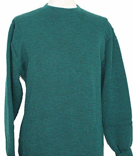 Girocollo uomo 100% nuovo lana maglione/Maglione Stile 14117Made in England Rifle Green M