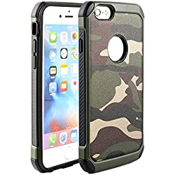 iPhone 6S Plus/6 Plus funda, [diseño de camuflaje] doble capa [resistente] [absorción de choque] caída protección híbrida Armor Defender Rugged Carcasa para iPhone 6S Plus/6 Plus, plástico, verde, iPhone 6s Plus,iPhone 6 Plus