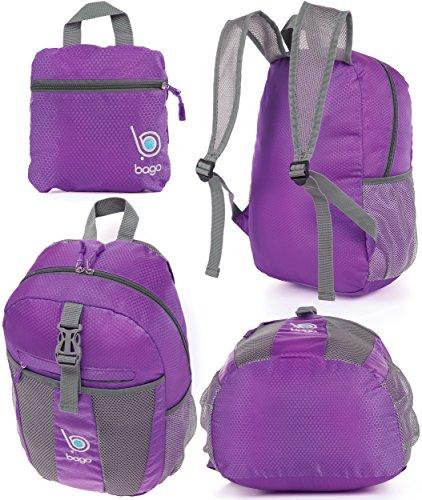 Zaino Confezionabile per Uomo, Donna e Bambini - Zaino Leggero e Pieghevole - Usa come borsa da viaggio, Zainetto, Borsetto a mano per avere più spazzio per il Bagaglio - Si ripiega nella sua Tasca In Purple