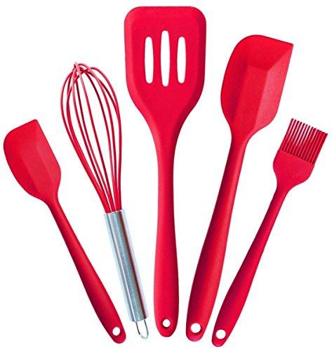 Küchenhelfer Set - Loomon 5 Stück Premium Silikon Küchenhelfer Küchen Utensilien Set - Hitzebeständige Koch- und Backzubehör