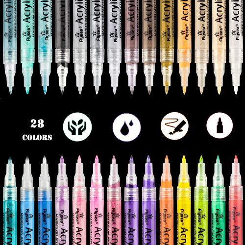 Aliyer Acrylstifte Marker Stifte, permanent Marker 28 Farben 0.7mm Strichstärke, ungiftig, zum Bemalen von Steinen, Keramik, Glas, Leinwand, Tassen, Holz und Ostereiern