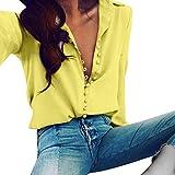 Internet Damen Beiläufiges Festes Langes Hülsen Blusen Revers Hemd (M, Gelb)