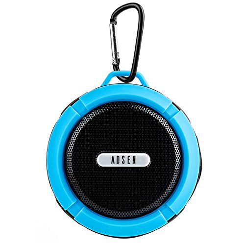 adsen  Rechargeable Waterproof Shockproof Dirt Snow Proof Portable Bluetooth V3.0 A2DP Stereo Speaker with Suction Cup, Shower Pool Car Handsfree and Built in Mic for iPhone, iPad, iPod and Android and