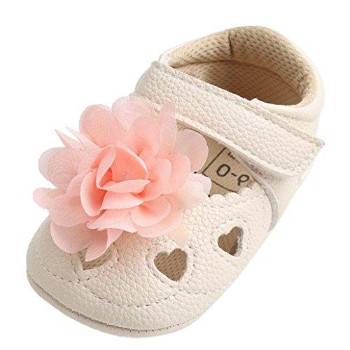 SOMESUN Baby Mädchen Blume Aushöhlen Sandalen Kleinkind Prinzessin Mode Bandage Weich Leder Atmungsaktiv Erster Spaziergang Beiläufig Freizeit Krippe Schuhe (6-12 Monate, Khaki) (Kleinkinder Jordan Schuhe Für Mädchen)