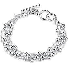 LDUDU® Pulsera de mujeres plateada de plata 925 con bolas Brazalete de mujer ajustable 17-20cm regalo Cumpleaños Navidad San Valentin Boda