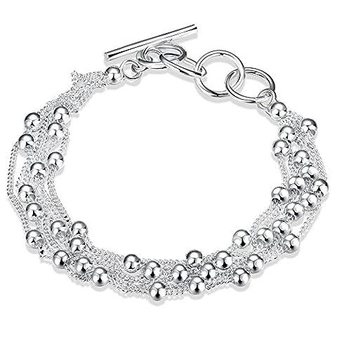 LDUDU® Damen Armband mit Kügelchen Armkette Armbänder versilbert Silber 925 Geschenk Geburtstag Weihnachten, einstellbar 17-20 cm