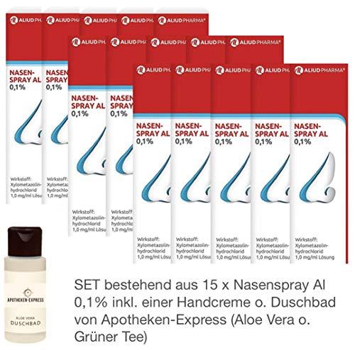 Nasenspray Al 0,1{0d6470669bf84b9a3559589395f1847e842f5dcd7f753f2a3355e7ebf379fa37} 15er-Sparpackung (15x10ml) inkl. einer Handcreme o. Duschbad der Marke Apotheken-Express (Grüner Tee o. Aloe Vera)