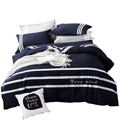 Rose Cotton Four-Piece, Doppelbett-Versorgungsmaterial, Bettwäsche-Set, einfach, blau, warm, 1.5m, 1.8m, 2.0m. (Size : 1.5m)