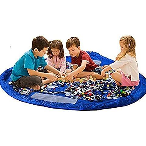 Children Play Mat BigNoseDeer bebé plegable bolsa de almacenamiento de juguetes de los niños del juguete del niño Alfombra Organizador de 60 pulgadas (150 cm) (Azul)