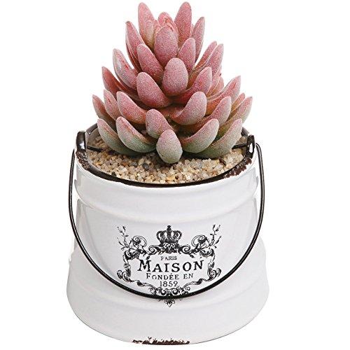 Rustikal Weiß Keramik French Country Maison, die Sie Design Sukkulente, Übertopf Topf/dekoratives Accessoire Jar - Vintage Garden Vase