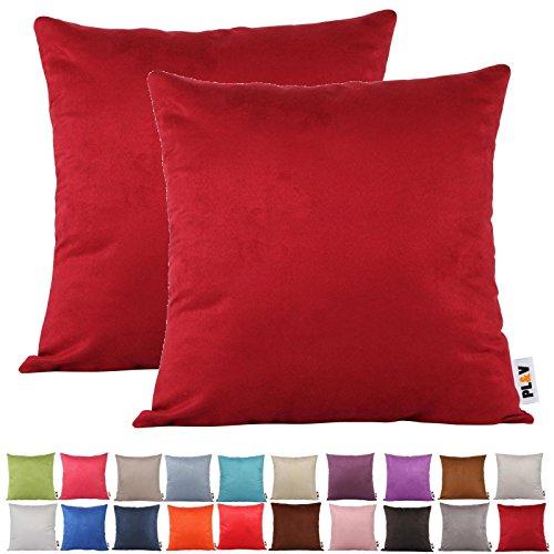 Plandv® - Lot de 2 housses de coussin - Couleur unie, imitation daim, légères, décoration, bordeaux, 45 x 45 cm