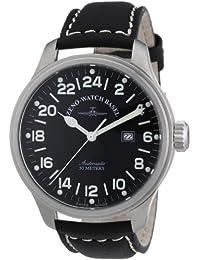 Zeno Watch Basel Pilot Oversized 8563-24-a1 - Reloj de caballero automático, correa de piel color negro