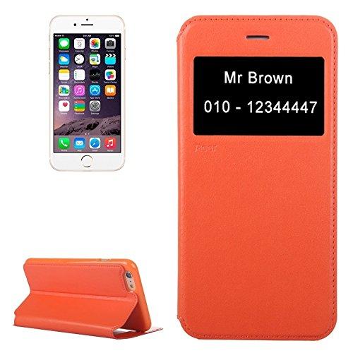 Phone case & Hülle Für iPhone 6 / 6S, Roar Crazy Pferd Textur Leder Tasche mit Halter & Card Slot & Anrufer ID Display ( Color : White ) Orange