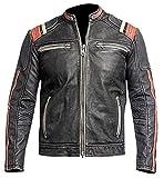 paramount-fashion Cafe Racer Vintage Retro-Motorrad Biker Stil Echtleder Jacke Motorrad mit roten Streifen am Ärmel - XXL