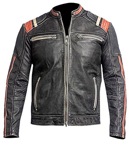 Leatherly Cafe Racer moto Retro Vintage Biker estilo chaqueta cuero moto con...