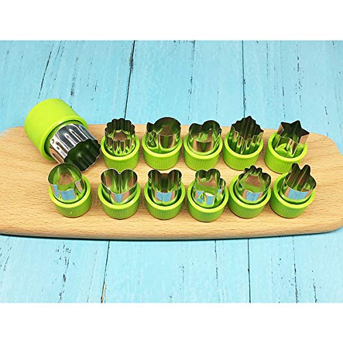 ExcLent 12Pcs/Set Stainless Steel Fruit Vegetable Biscuit Cutters Butterfly Printing Mini Cookie Shape Cutter Set Kid Food Mold Mould
