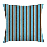 RAINNY Aqua Throw Pillow Cushion Cover, White Blue Stripes Bold Lines Zig Zag Wavy Design Image Vintage Print, Decorative Square Accent Pillow Case, 18 X 18 inches, Dark Brown and Turquoise