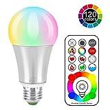 iLC LED Farbige Leuchtmittel RGB+Weiß Lampe Edison Dimmbare Farbige Leuchtmitte Farbwechsel Lampen Scheinwerfer - 120 Farben RGBW - 10 Watt E27 Fassung LED Birnen - Dual Memory - 2 Dynamischer Modus - Kabellos Fernbedienung inklusive
