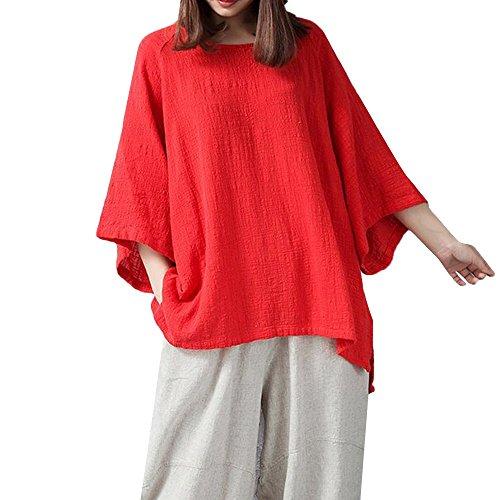 TEBAISE Daman Baumwoll Leinen Kurzarm Blusen Tunika T-Shirt Casual Loose Tops Shirts Sommer Fledermaus Hemd Lässig locker Top Dünnschnitt Bluse T-Shirt