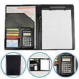 Dproptel Conférencier A4 en cuir synthétique avec calculatrice 12-Bit, pochette pour documents et bloc-notes Noir