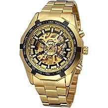 GuTe Reloj de pulsera mecánico automático, dial con diseño de X y mecanismo visible, color dorado y negro